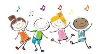 stick figure children dancing with musical notes floating over head=