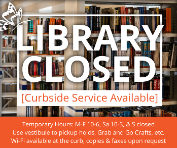 Library closed, curbside service available