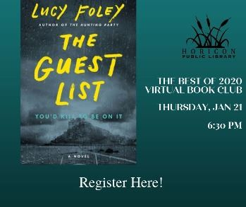 Virtual Book Club Ad for The Guest List by Lucy Foley