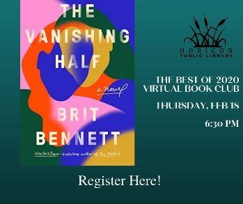 Virtual Book Club Ad for The Vanishing Half by Brit Bennett